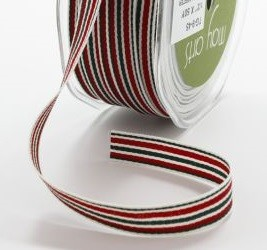 "May Arts - 1/2"" Grosgrain / Stripes - Red / Green / Cream (1 yard)"