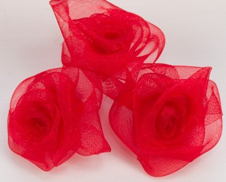 "May Arts - 2"" Sheer Organza Roses - Red (3 pcs)"