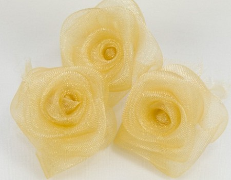 "May Arts - 2"" Sheer Organza Roses - Golden (3 pcs)"