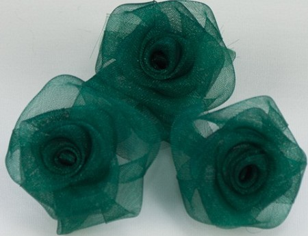 "May Arts - 1"" Sheer Organza Roses - Evergreen (3 pcs)"