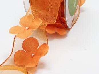"May Arts -1.5"" Flowers / Pearl Center / Wired - Orange (1 yard)"