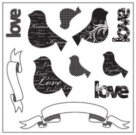 Maya Road Singleton Clear Stamp Set - Love Chirps