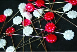 Maya Road - Trinket Pins - Red/White Flowers (50)