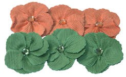 Maya Road - Trinket Blossoms - Corduroy Petal Orange & Green Flower