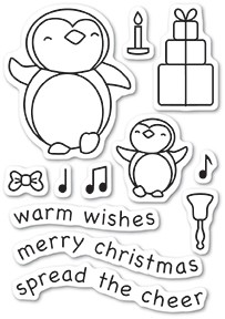 Memory Box - Open Studio Clear Stamp Set - Penguin Cheer