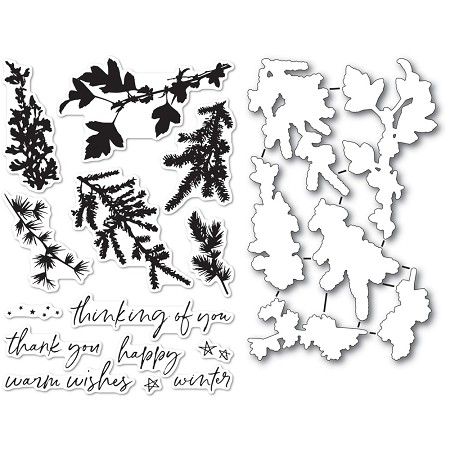 Memory Box - Clear Stamp - Winter Greenery clear stamp and die set