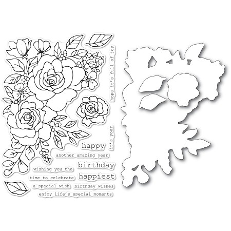 Memory Box - Clear Stamp & Die set - Birthday Rose Corner