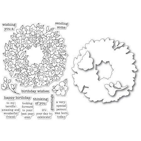 Memory Box - Clear Stamp & Die set - Cherry Blossom Wreath