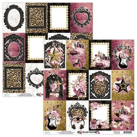 "Mintay by Karola - Glam Rock Collection - 12""x12"" Cardstock - #6 Journal Cards"
