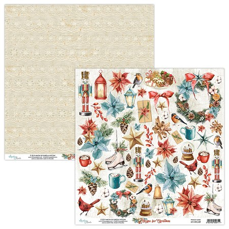 "Mintay by Karola - Home For Christmas Collection - 12""x12"" Cardstock - #9 Elements to cut"