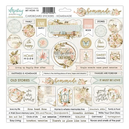 "Mintay by Karola - Homemade Collection - 12""x12"" Chipboard Sticker Sheet"