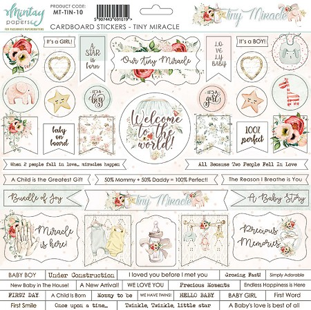 "Mintay by Karola - Tiny Miracle Collection - 12""x12"" Chipboard Sticker Sheet"