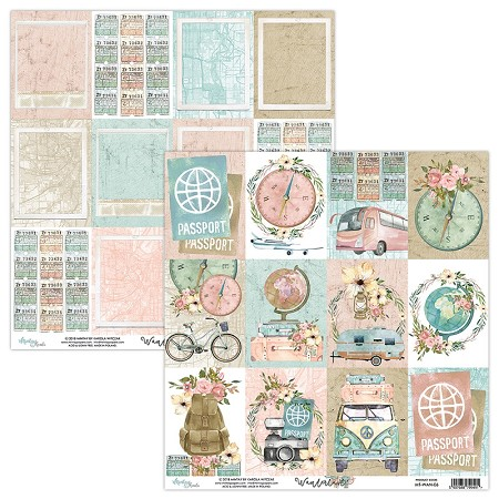 "Mintay by Karola - Wanderlust Collection - 12""x12"" Cardstock - #6 Journal Cards"
