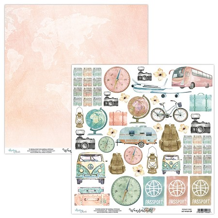 "Mintay by Karola - Wanderlust Collection - 12""x12"" Cardstock - #9 Elements to cut"