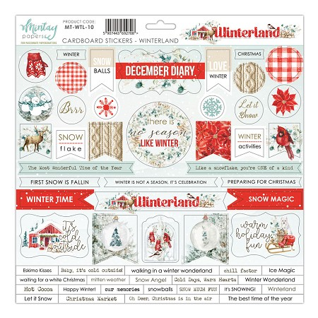 "Mintay by Karola - Winterland Collection - 12""x12"" Chipboard Sticker Sheet"