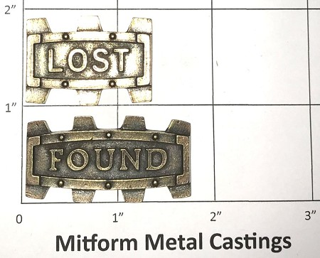 "MitForm - Metal Casting - Word Gears ""LOST"" & ""FOUND"" (2 pcs)"