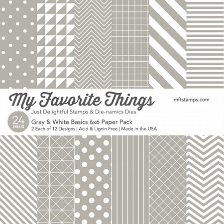 "My Favorite Things - 6""x6"" paper pad - Gray & White Basics Paper Pack"