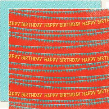My Minds Eye-Hip-Hooray - Boy - Happy Birthday - Double Sided Paper