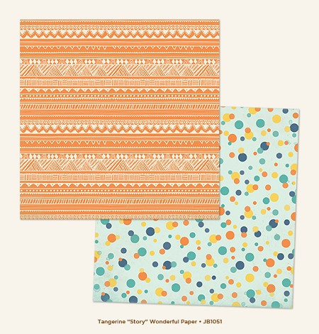 "My Mind's Eye - Jubilee Collection - Tangerine Story ""Wonderful"" Paper"