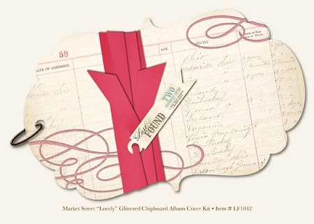 "My Mind's Eye - Lost and Found - Market Street ""Lovely"" Glittered Chipboard Album Cover Kit"