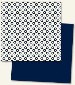 Lush Double Sided Paper - Navy Flower
