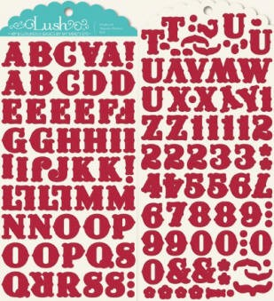 Lush Chipboard Stickers - Red Alphabet Printed