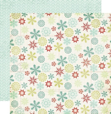 "My Minds Eye - Mistletoe Magic Collection - 12""x12"" Double Sided Cardstock - Snowflakes"