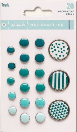 My Mind's Eye - Necessities Collection - Decorative Brads - Teals