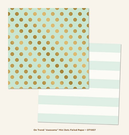 "My Mind's Eye - On Trend Collection - Awesome ""Mini Dots"" Gold Foiled 12""x12"" Paper"