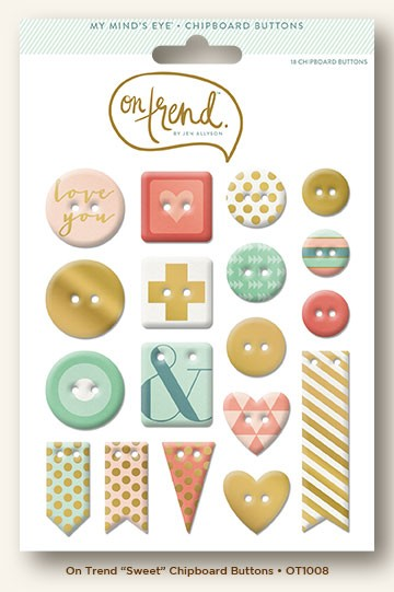 My Mind's Eye - On Trend Collection - Sweet Gold Foiled Chipboard Buttons