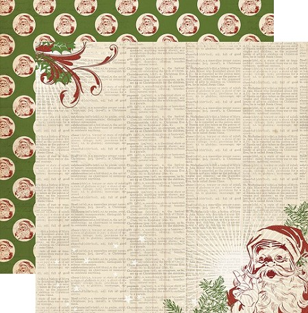 "My Minds Eye - Vintage Christmas Collection - 12""x12"" Double Sided Cardstock - Dictionary"