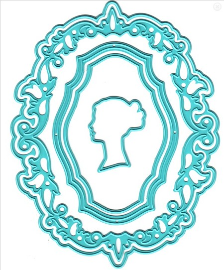 Nellie Snellen's Shape Die - Vintasia Oval Frame with lady Cameo (set of 5 dies)