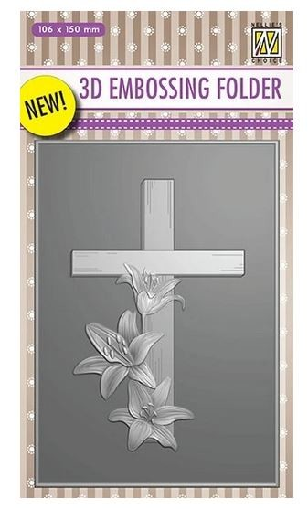 Nellie Snellen's - 3D Embossing Folder - Cross with Lilies
