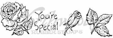 Northwoods Wood-Mounted Rubber Stamp - You're Special Rose Cube