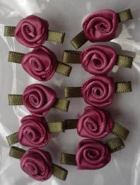 Offray Ribbon Embellishments - Sm Ribbon Rose - Col. Rose