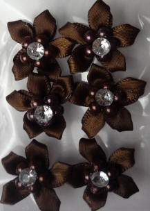 Offray Ribbon Embellishments - Gemstone Flower - Brown