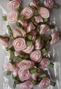 Offray Ribbon Embellishments - Sm Ribbon Rose - Light Pink