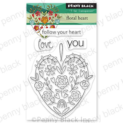 Penny Black - Clear Stamp - Floral Heart