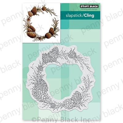 Penny Black - Slapstick Cling Stamp - Conifer Wreath