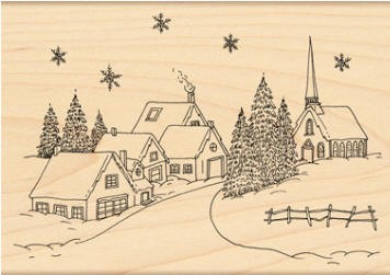 Penny Black Wood Stamp - Village Christmas