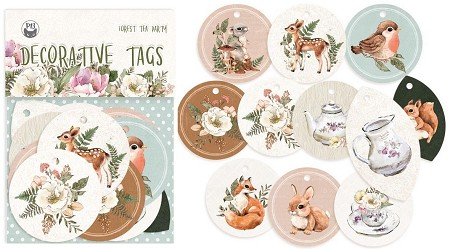 Piatek 13 - Forest Tea Party - Decorative Tags (round ephemera)