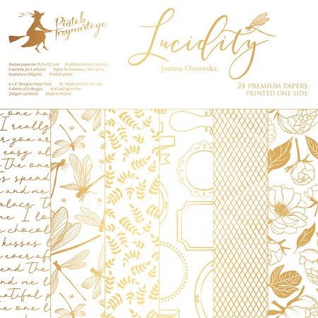 "Piatek 13 - Lucidity Collection - 6""x6"" Paper Pad (gold print)"