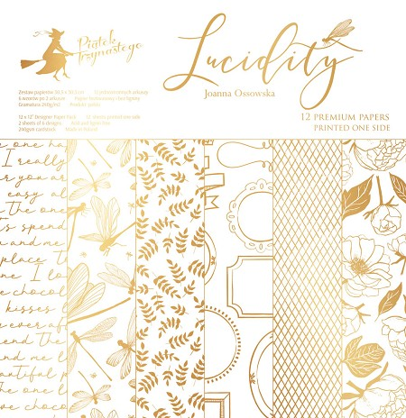 "Piatek 13 - Lucidity Collection - 12""x12"" Paper Pad (gold print)"