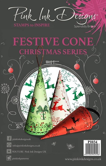 Pink Ink Designs A5 Clear Stamp Set - Festive Cone