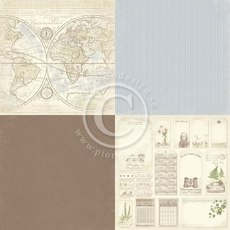 "Pion Design - Linnaeus Botanical Journal Collection - 12""x12"" Single Sided cardstock - 6x Carte Generale"