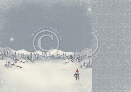"Pion Design - Greetings From the North Pole Collection - 12""x12"" Double Sided cardstock - Midwinter Night"