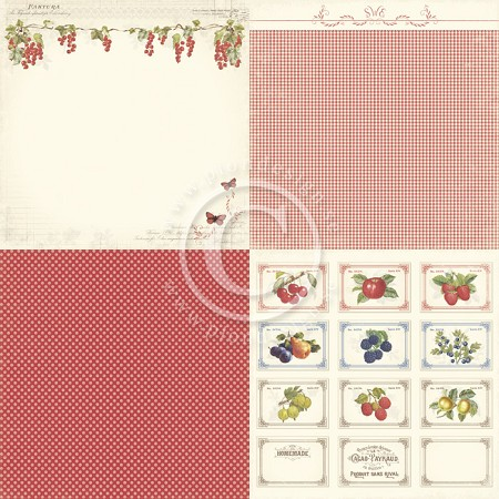 "Pion Designs - Siri's Kitchen - 12""x12"" Single Sided Cardstock - 6x Red Currants"