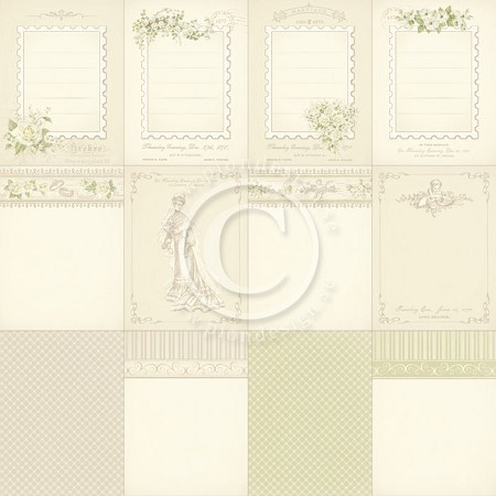 "Pion Design - Vintage Wedding Collection - 12""x12"" Single Sided Cardstock - Memory Notes I"