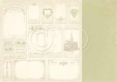 "Pion Design - Vintage Wedding Collection - 12""x12"" Double Sided cardstock - Tags"