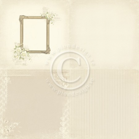 "Pion Design - Vintage Wedding Collection - 12""x12"" Single Sided cardstock - 6x Photo Frame"